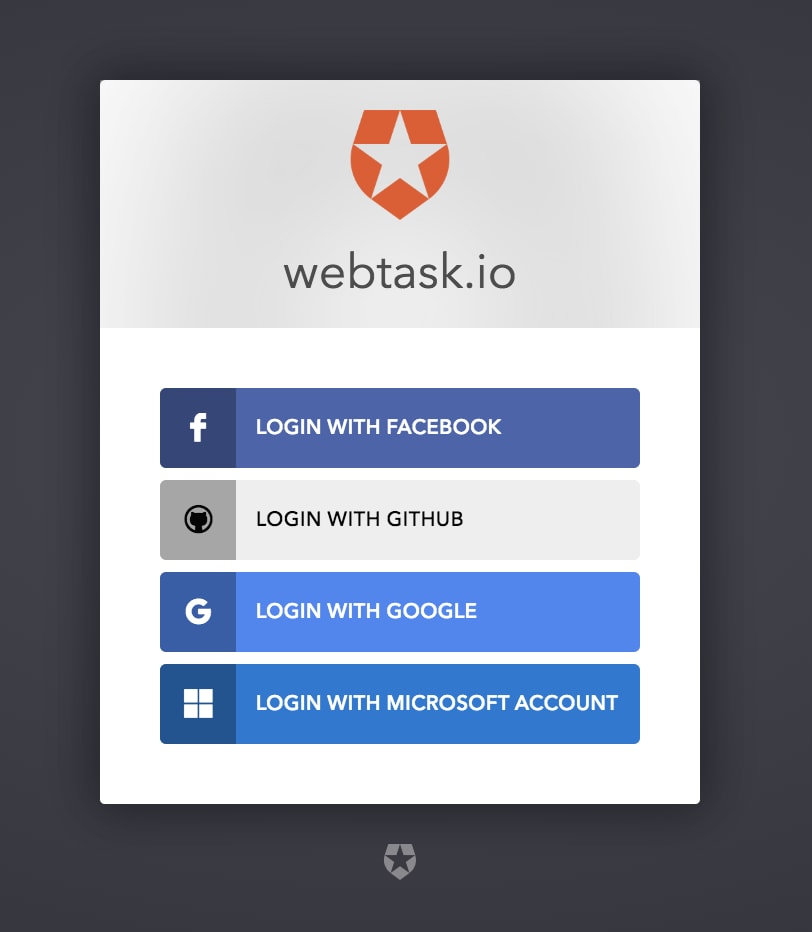 Screenshot of Webtask's sign-up screen