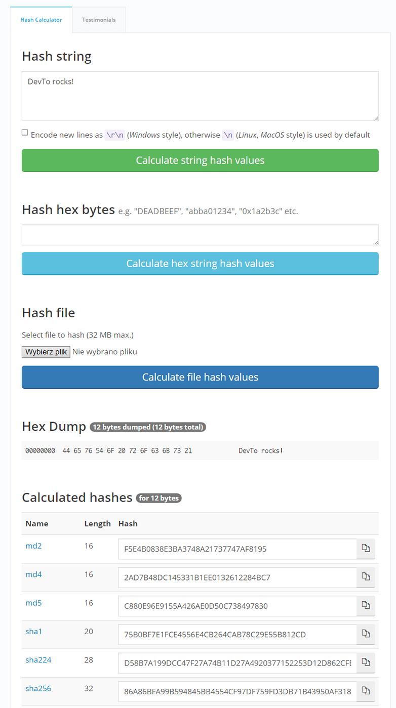 Online Hash Calculator in action