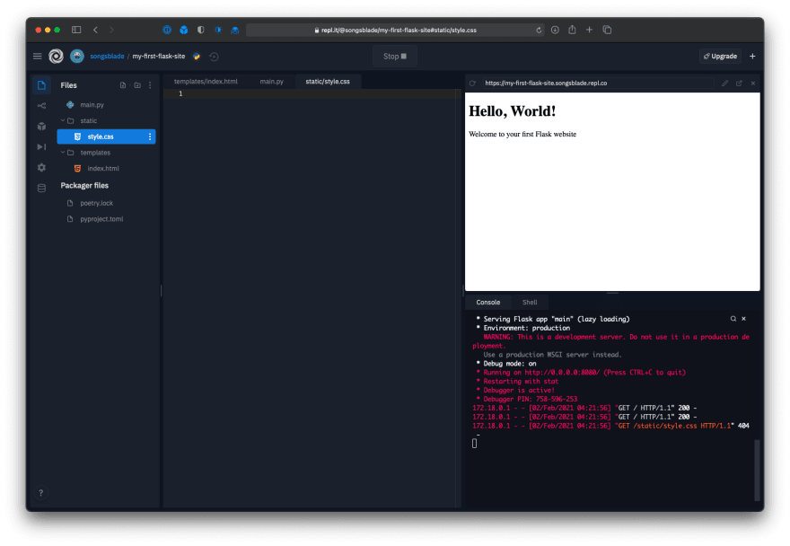 Repl editor showing current state of the project
