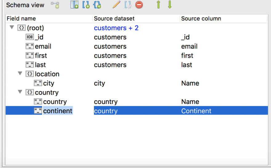 Rename fields while in Schema View simply by double-clicking
