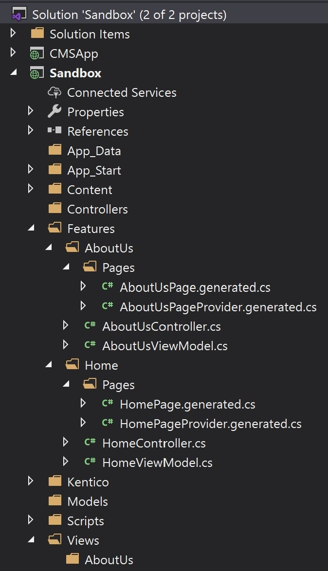 Content Delivery project using Feature Folders organization