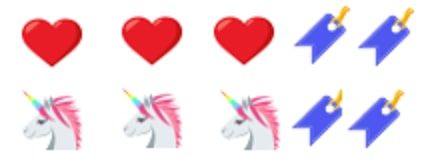 hearts, unicorns, bookmark, share