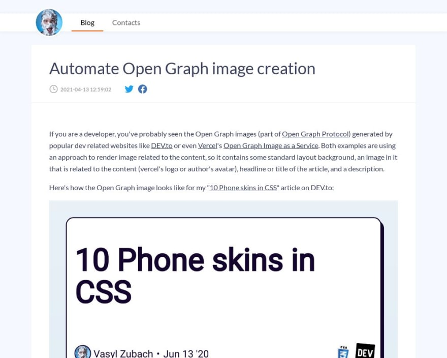 Automate Open Graph image creation OG image