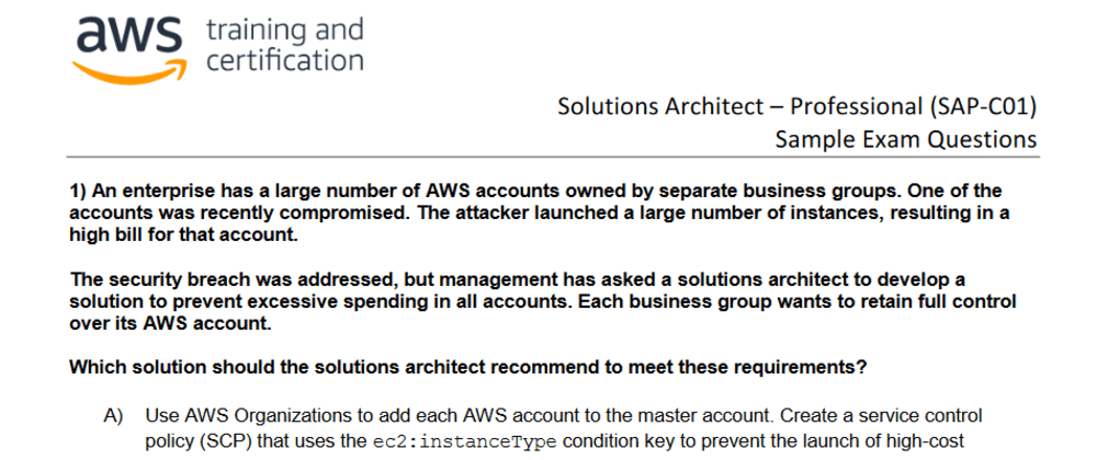 Cover image for The practice test for the AWS Certified Solutions Architect Professional