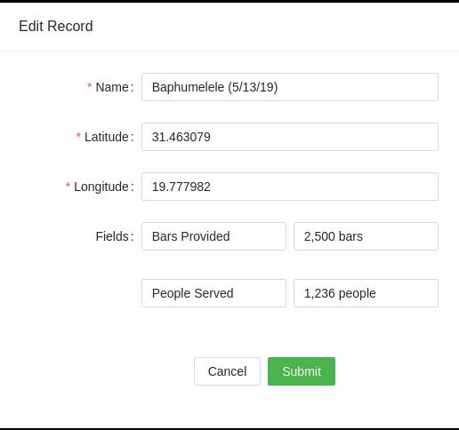 Screenshot of edit record modal pop-up