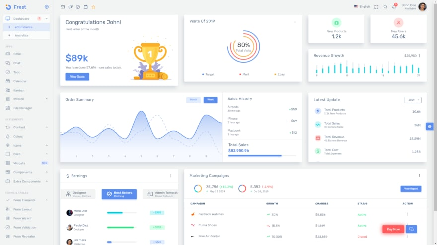 Frest Bootstrap admin template