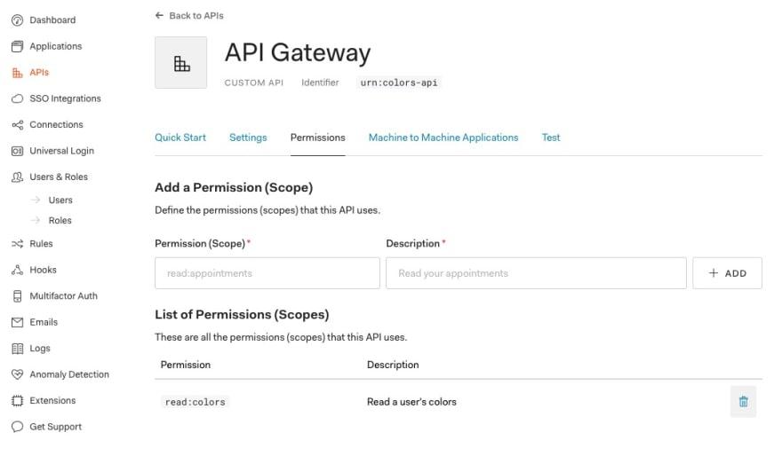 Configuring API scopes in Auth0