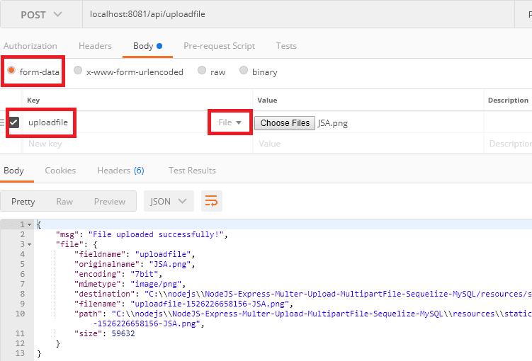 NodeJS-Express-Multer-Upload-MultipartFile-MySQL-Sequelize-upload-from-postman