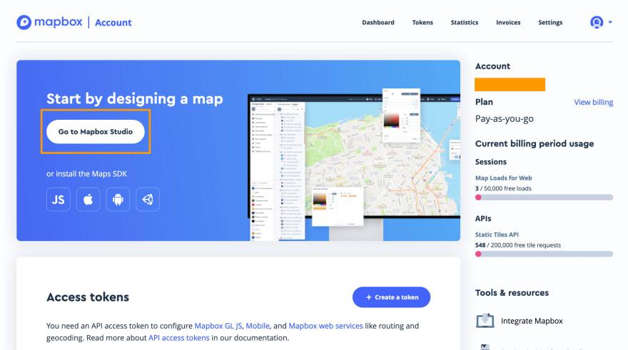 mapbox dashboard