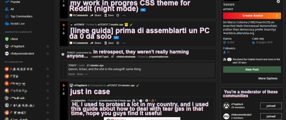 Cover image for [crosspost] my work in progres CSS theme for Reddit (night mode)