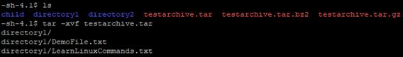 tar -xvf testarchive.tar