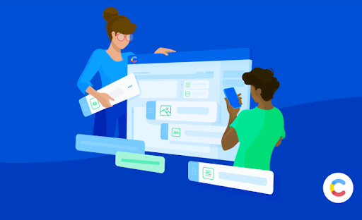 Illustration of two individuals building in the Contentful web app