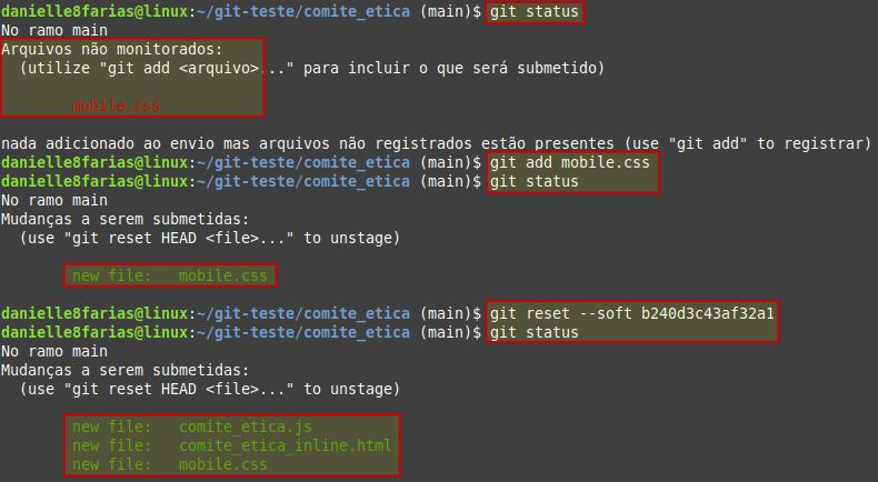 exemplo de um arquivo no index antes do reset soft
