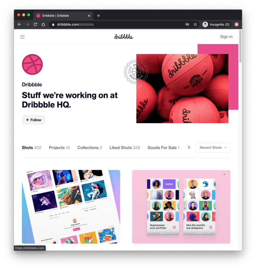 Dribbble profile page