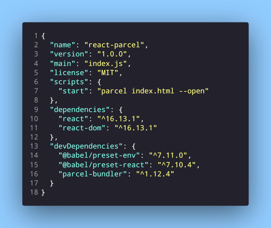 package.json file with the start script