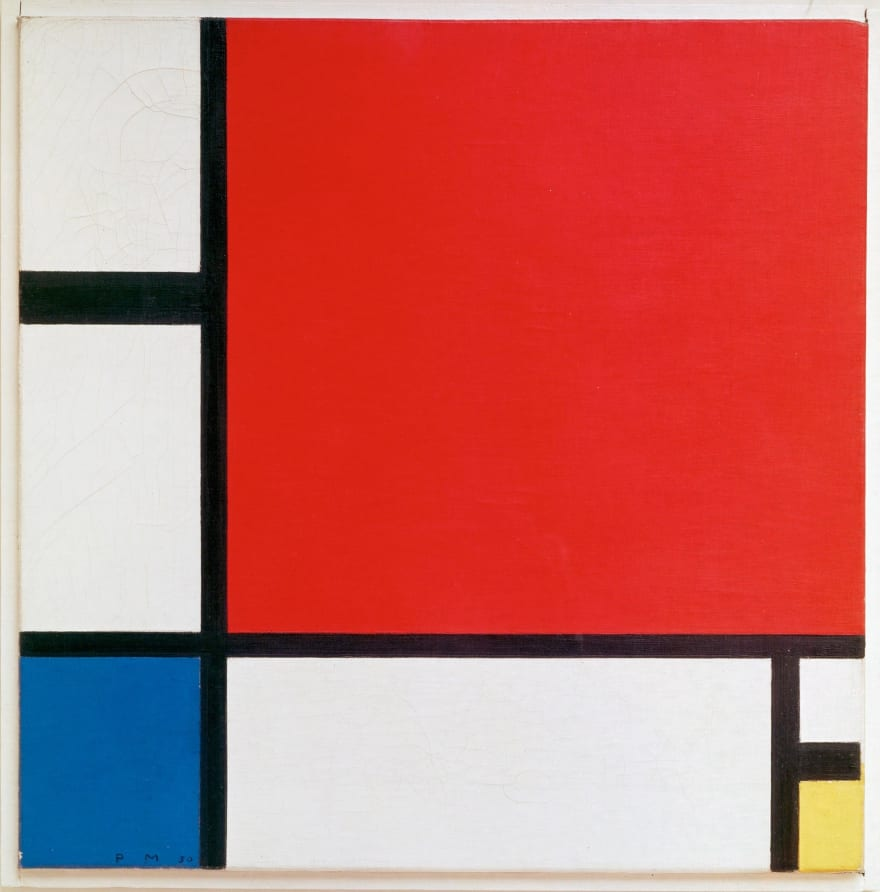 "Piet Mondrian's 1930 work of art, ""Composition II in Red, Blue, and_Yellow"""