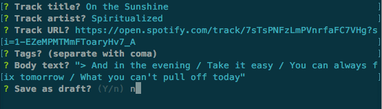 Command Line Interface showing questions: Track title, artist, URL, tags, body text, and save as draft