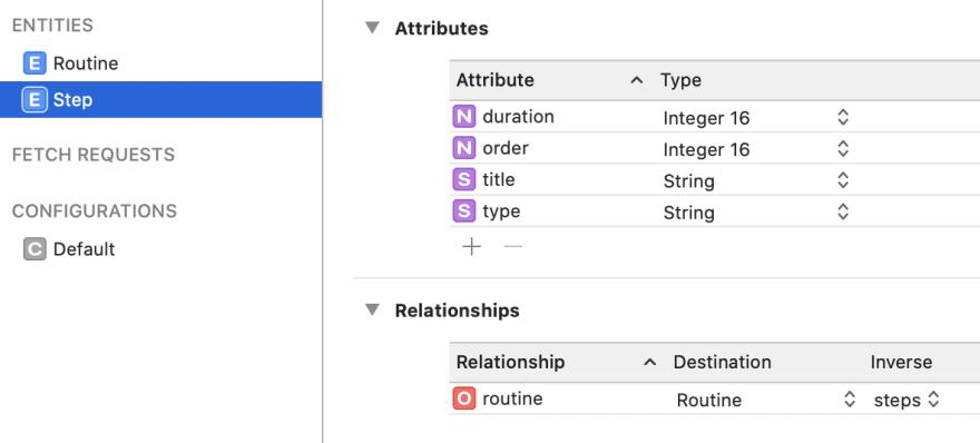 Step entity in model editor