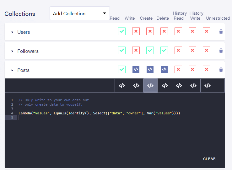 Dashboard: Default predicate function for create privileges