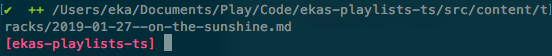Command Line Interface showing file 2019-01-27-on-the-sunshine.md successfully added