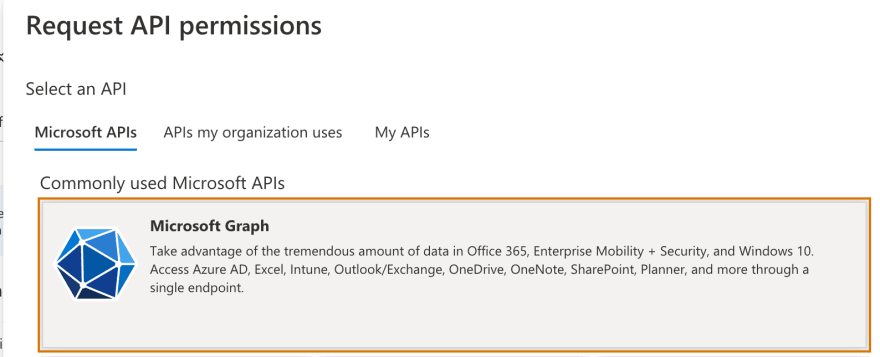 Screenshot of the  Request API permissions form showing the selection of the microsoft graph api