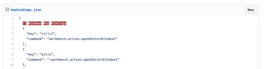 Windows key bindings uses a file called keyBindings.json