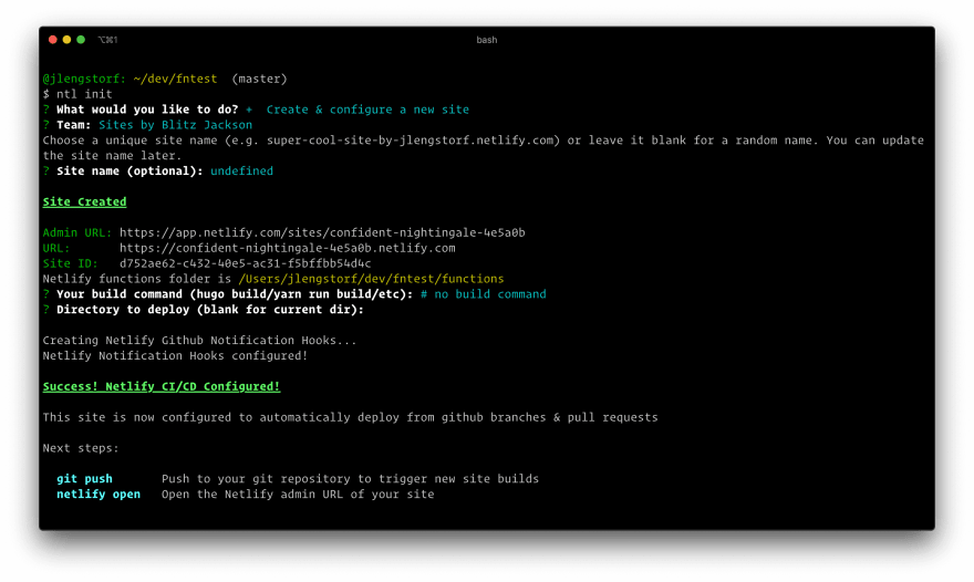 Screenshot of terminal output from running netlify init with the above settings.