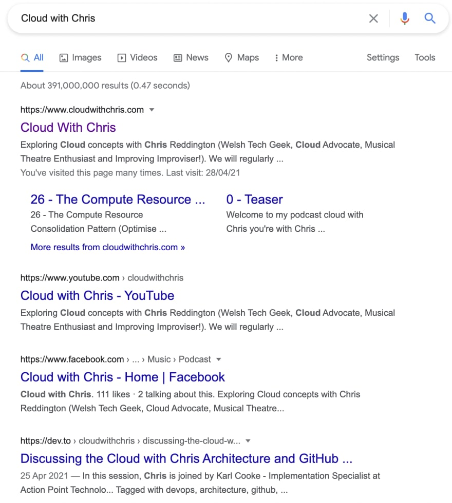 Search results for Cloud with Chris in Google