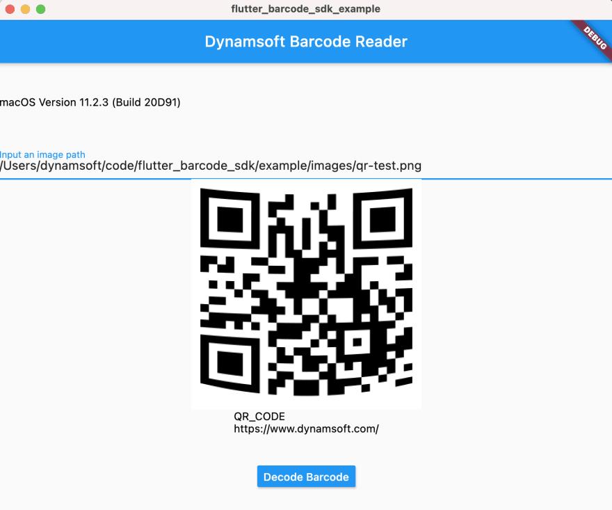 Flutter barcode SDK for macOS