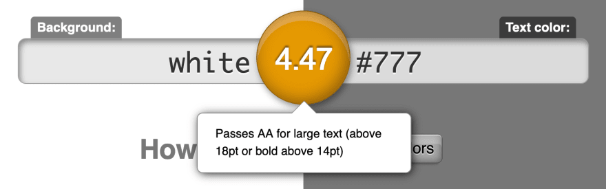 The color #777 has a contrast below 4.5