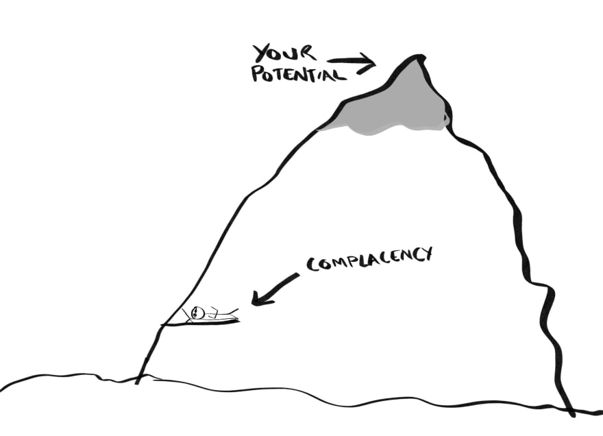Complacent person only halfway up a mountain