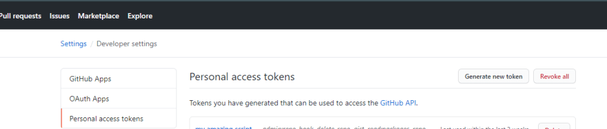 Personal access token tab