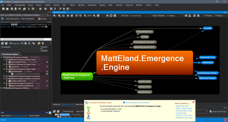 NDepend showing project dependencies