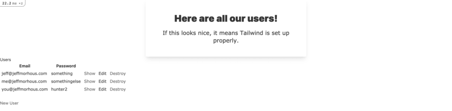 A screenshot of the users' index page styled with Tailwind