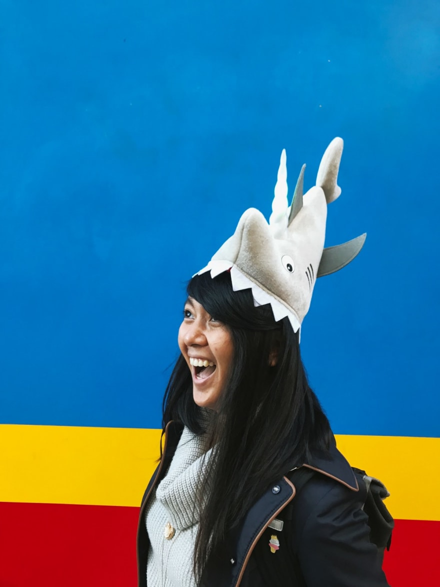 Charlyn wearing sharknicorn hat