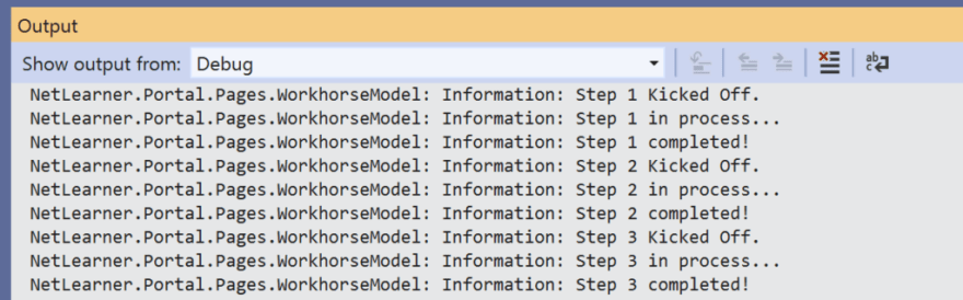 VS2019 Output panel showing debug messages