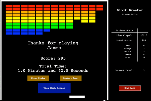 Blockbreaker game over screen