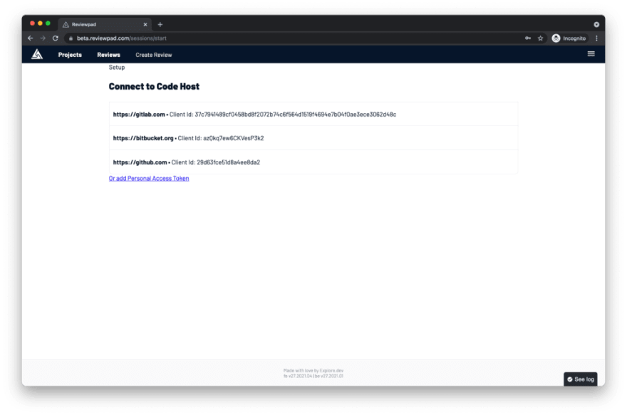 Connect to code host page on Reviewpad