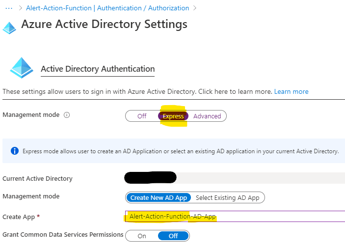 Active Directory App Authentication config