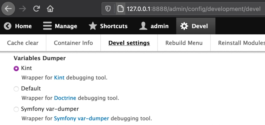 Devel Kint variables dumper configuration