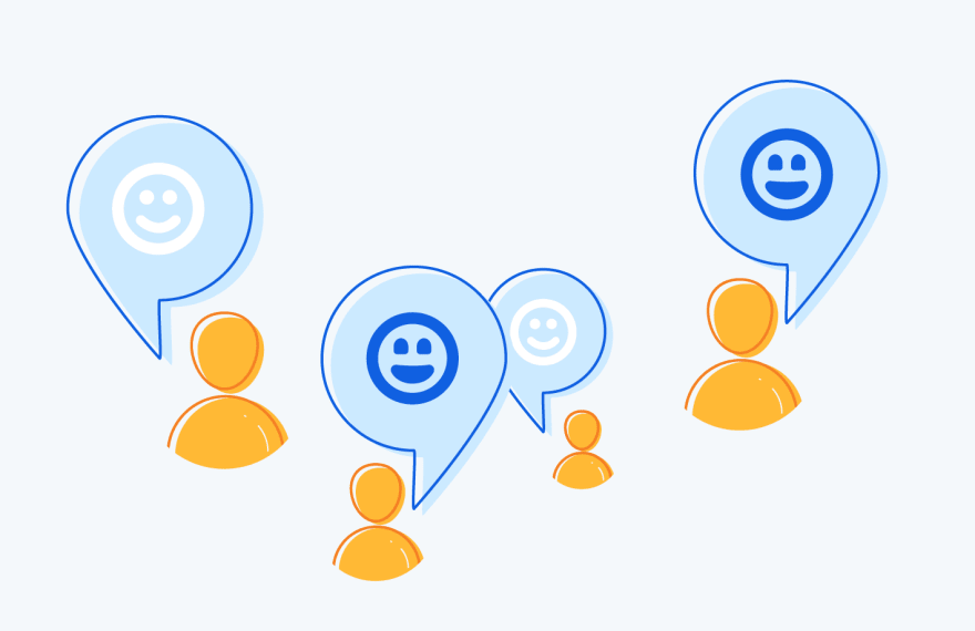 Illustration showing people with speech bubbles with smiley faces in them