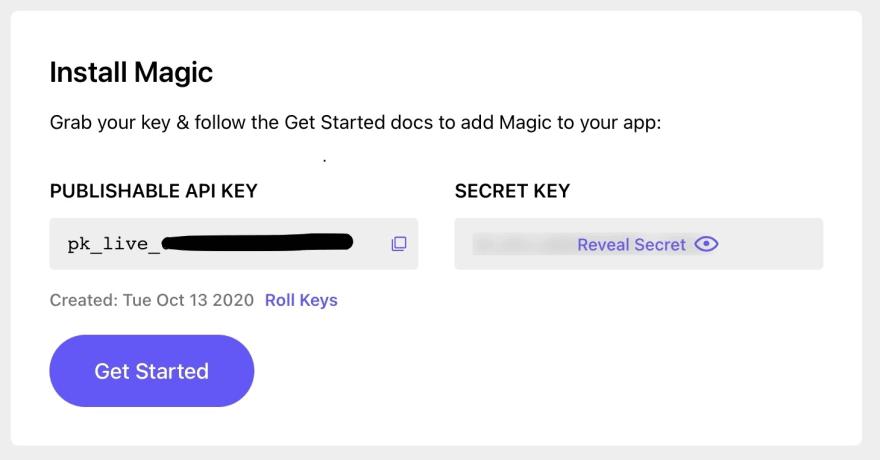 Magic Dashboard Keys