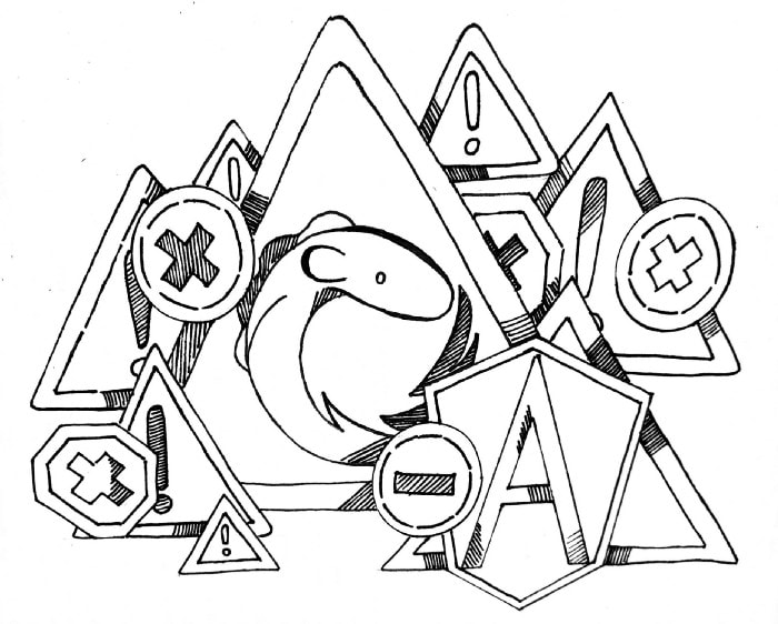 """A black and white drawn image, the design is sketchy in look. The image consists of multiple triangle signs with """"!"""" inside, two circle and hexagonal signs with """"X"""" inside, a circle sign with """"-"""" inside, and an Angular logo all around a large triangle sign. The large triangle sign has a drawing of an eel looking creature curled in a circle."""