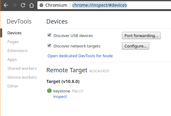 Screenshot showing Chrome's interface for inspecting devices