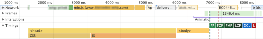"The ""Timings"" panel shows my custom metrics along with Chrome default ones"