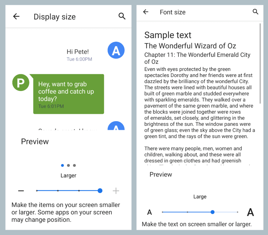 Screenshot showing Android font and display size settings