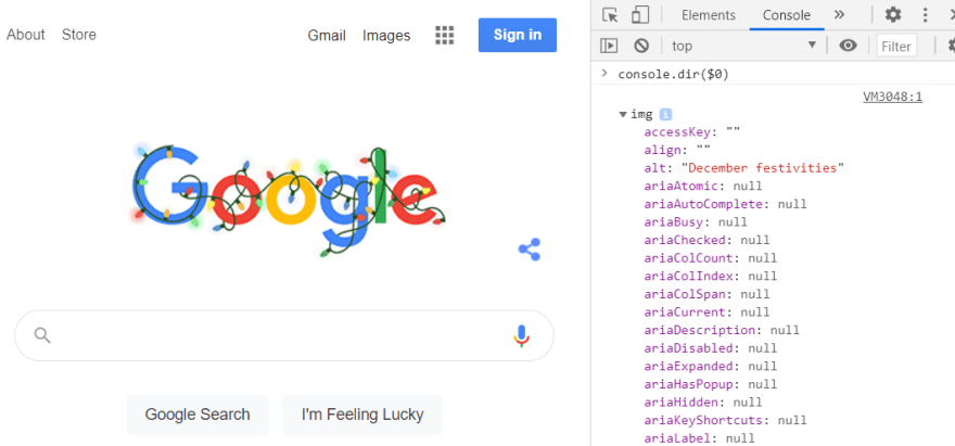 The Google logo img element inspected in Chrome devtools console