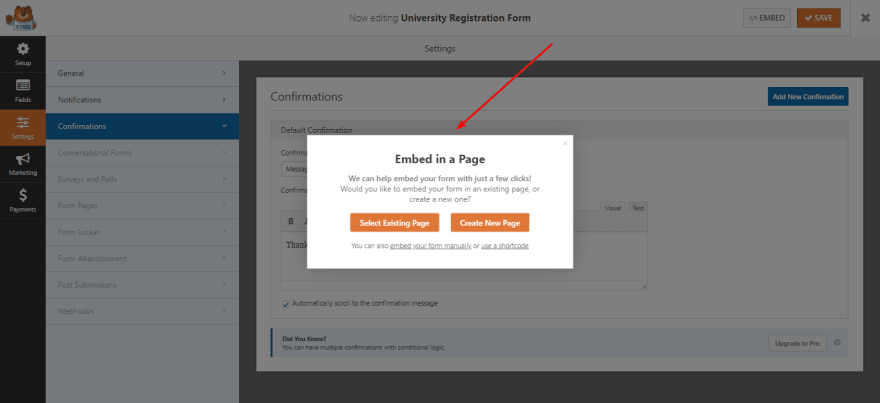 Embed contact form in a page of your WordPress website