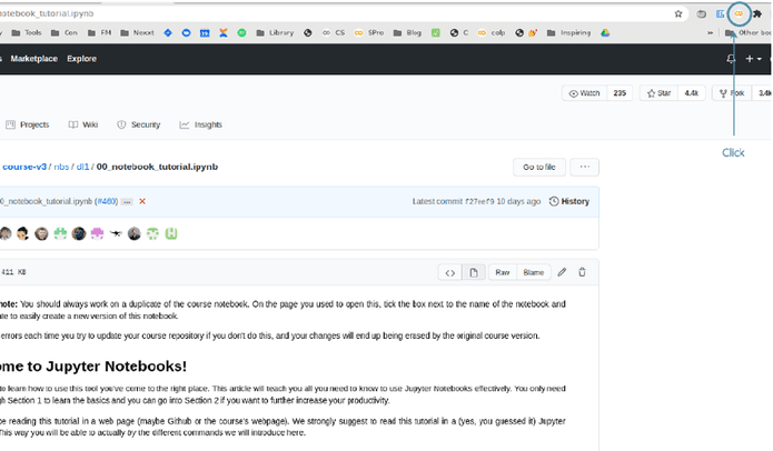 Extension for opening github notebook in colab