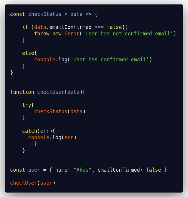code explains custom error. Text explanation below image